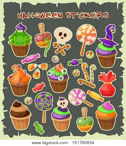 Haloween stickers. Traditional sweets and candies for holiday Halloween. Muffins, cupcakes, cakes decorated in Halloween style and isolated on white background. Retro cartoon style vector illustration.