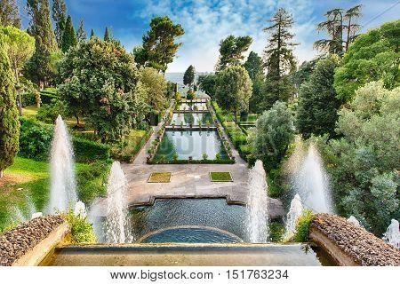 Aerial View Of Villa D'este, Tivoli, Italy