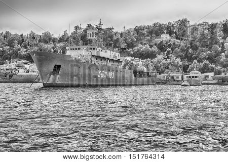 Black Sea Fleet Warships In Quay Of Sevastopol Bay, Crimea