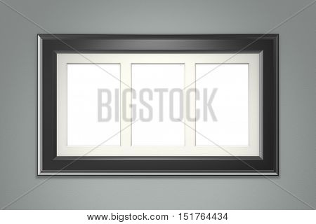 Black picture frame on gray wall background. 3d rendering