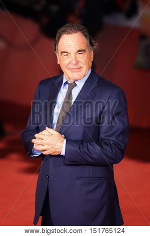Rome, Italy - October 14, 2016: American film director Oliver Stone on the red carpet of the 11th edition of the Rome Film Festival