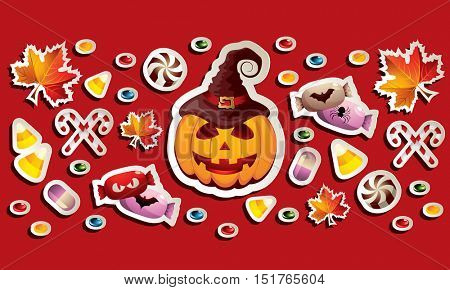 Halloween Banner with Jack O' Lantern, Leaves and lots of Different Candies with Simple Dark Shadows