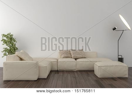 Living room sofa interior plants and blank wall in the background. 3D illustration