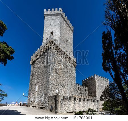 ERICE ITALY - AUGUST 9 2016: Medieval Balio tower in Erice Sicily