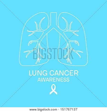 Lung cancer awareness poster made in linear style. Symbols of lungs and white ribbon. Human body organs anatomy icon. Respiratory system disease. Medical concept. Vector illustration.