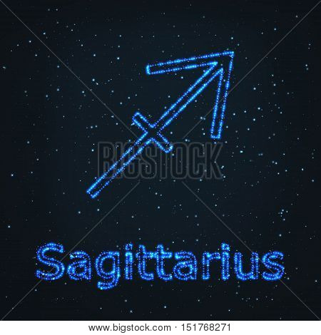 Astrology Shining Blue Symbol. Horoscope Sign. Zodiac Sagittarius.