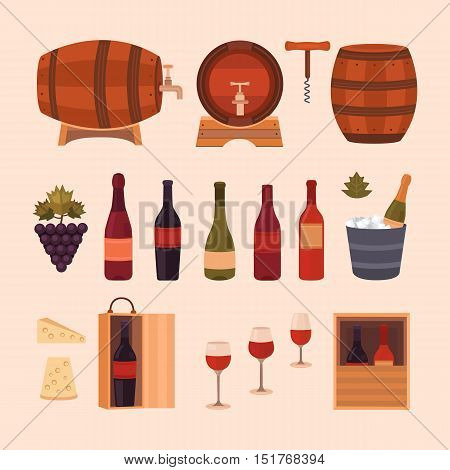 Set of wine design elements: different bottles, barrels of wine, glasses, cheese, grape and corkscrew. Vector collection icons winemaking business. Background for labels, tags, packaging, brochures.