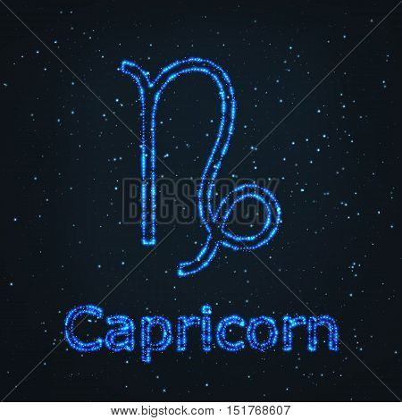Astrology Shining Blue Symbol. Horoscope Sign. Zodiac Capricorn.