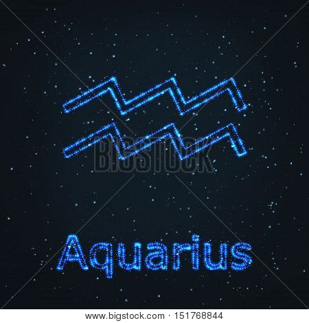 Astrology Shining Blue Symbol. Horoscope Sign. Zodiac Aquarius.
