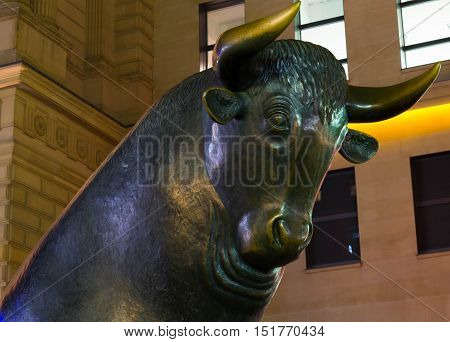Frankfurt am Main, Hessen Germany - October 14 2016 : The Bull and Bear Statues at the Frankfurt Stock Exchange in Frankfurt Germany. Frankfurt Exchange is the 12th largest exchange by market capitalization.