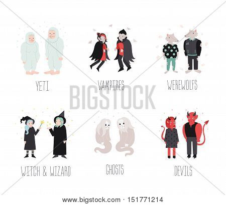 Fairytale and fantastic cartoon creatures and monsters vector set. Cute naive style.