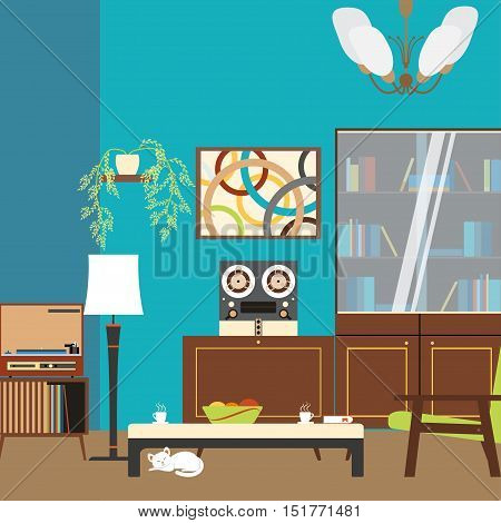 Living room interior with bookcase table armchair and tape players in the style of 70's vector illustration.