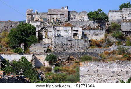 View of Ghost town of Kayakoy (Turkey)