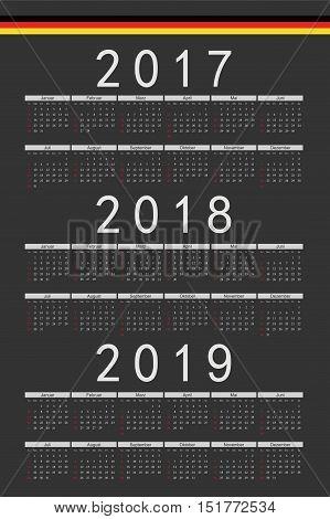 Set Of Black Rectangle German 2017, 2018, 2019 Year Vector Calendars