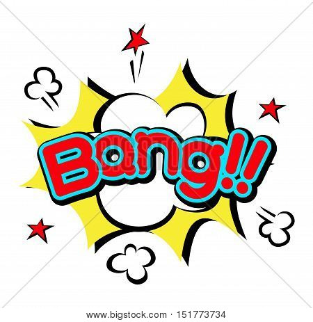Pop art comic speech bubble boom effects vector. Pop explosion bang  Communication cloud fun humor book splash element