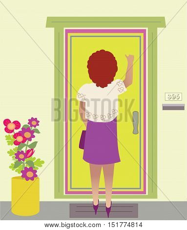 A nicely dressed woman knocks on a door, by colorful plant