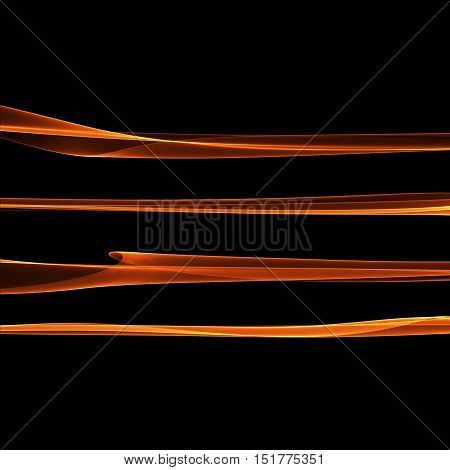 Set of abstract red smoke fire brushes over black background. Wavy elegant collection elements for your design and art.