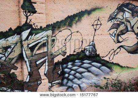 Monster on a graffiti