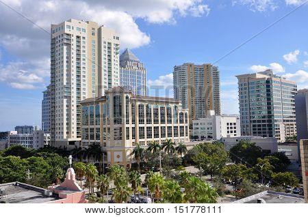 FORT LAUDERDALE, FL, USA - DEC 18, 2012: Fort Lauderdale downtown skyline, Florida, USA.