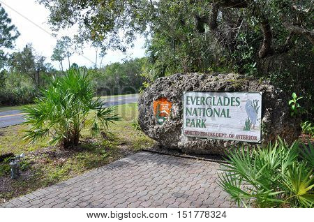 EVERGLADES NATIONAL PARK - DEC 23, 2012: Sign of Everglades National Park, Florida, USA.