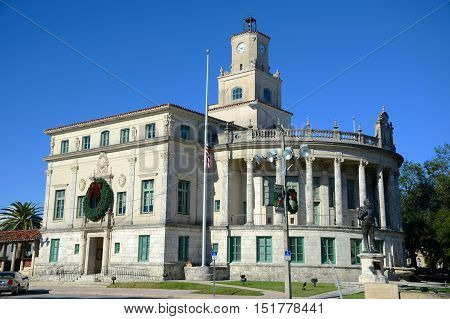 Coral Gables City Hall, Miami, Florida, USA. Coral Gables City Hall is the Spanish Renaissance style favored by George Merrick.
