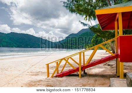 Maracas beach trinidad and tobago lifeguard cabin side view empty beach