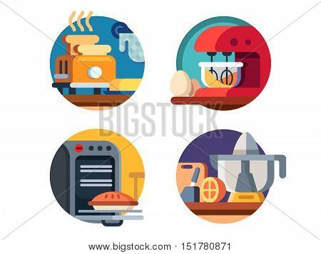 Kitchen appliances icons. Microwave and blender, toaster and juicer. Vector illustration