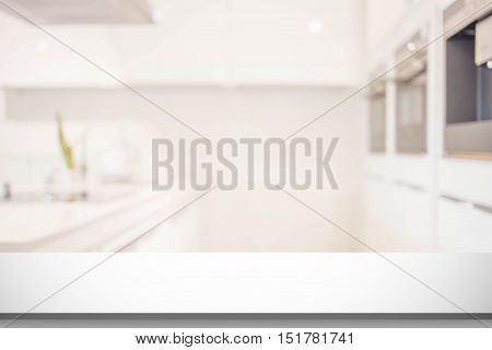 Blurred Image Of Modern Kitchen Interior For Background