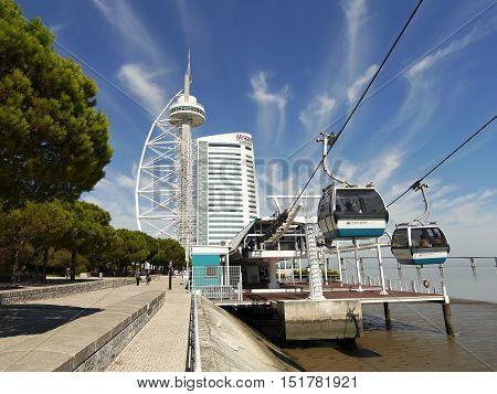 Lisbon, Portugal. The cable cars overlook the Vasco da Gama bridge on the Tagus river. October 6, 2016