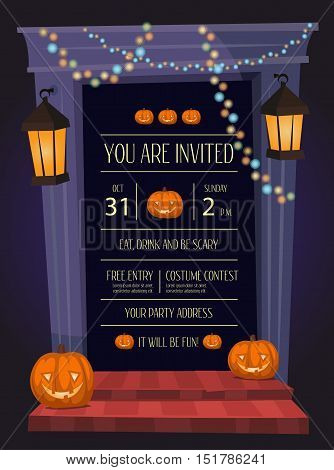 Halloween night party invitation with haunted house doorway, garlands and pumpkin head jack lanterns, cartoon vector illustration on blue background. Halloween design template with space for text.
