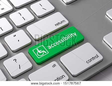 A keyboard with a green button Accessibility