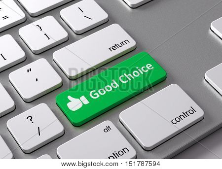 A keyboard with a green button Good Choice