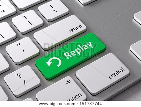 A keyboard with a green button Replay