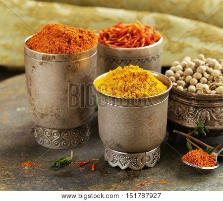Assorted spices (saffron , pepper, turmeric, cinnamon)