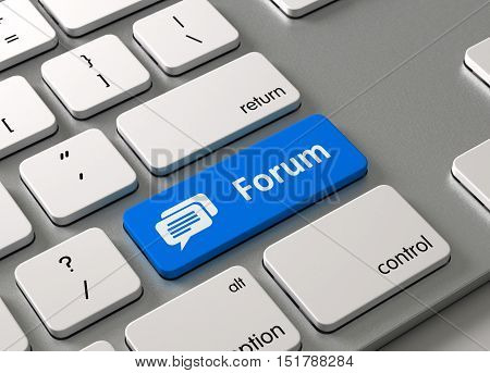 A keyboard with a blue button Forum