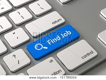 A keyboard with a blue button Find Job