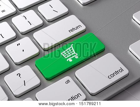A keyboard with a green button Shopping Cart