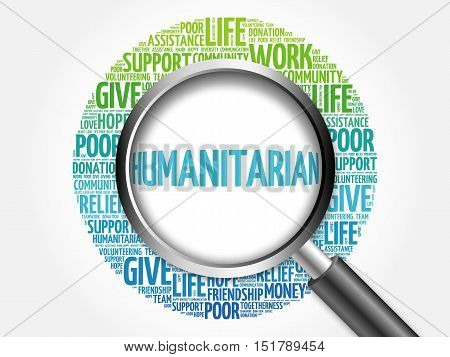 Humanitarian Word Cloud With Magnifying Glass