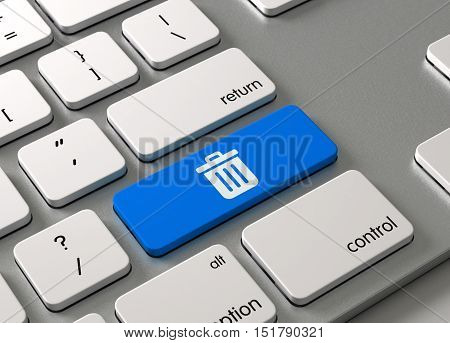 A keyboard with a blue button Delete