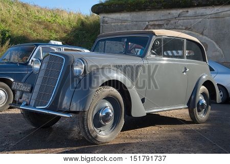 KRONSTADT, RUSSIA - SEPTEMBER 04, 2016: Opel Olympia in 1935 release close-up. Exhibition of vintage cars