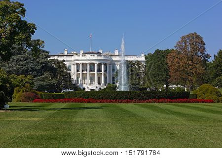 The White House Washington DC USA. The white house lawn and garden in early fall.