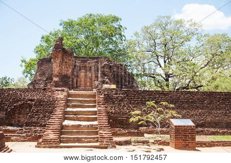 Potgul Vihara or Library Monastery in ancient city of Polonnaruwa, Sri Lanka
