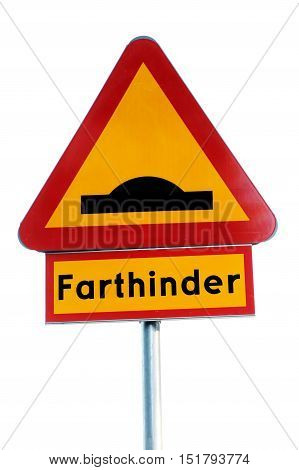 Warning sign for speed bumps (farthinder) in Sweden isolated on white background