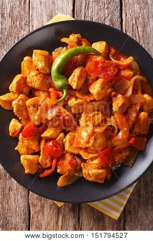 Spicy Chicken Jalfrezi With Pepper And Onion Close-up. Vertical Top View
