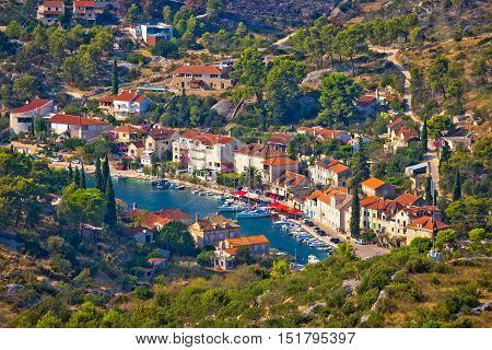 Bobovisca Na Moru village aerial view Island of Brac Dalmatia Croatia