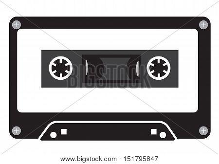 Audio tape cassette record flat design. Music tape vector icon. Cassette sign. Audio recording symbol.