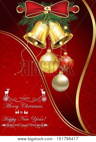 Merry Christmas and Happy New Year - elegant Winter holidays image with Christmas baubles and jingle bells, suitable to be send as a greeting card.