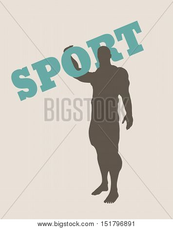Muscular man holding sport word. Vector silhouette. Bodybuilding relative image