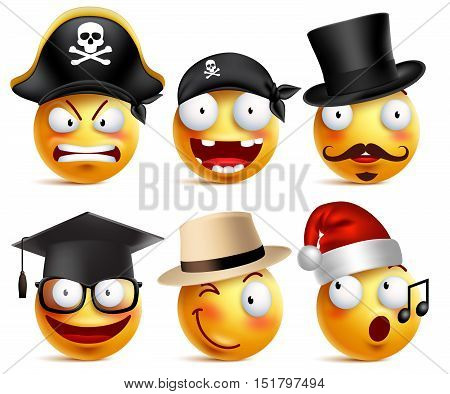 Smiley face vector set of funny toothless pirate, magician, graduate and santa claus with hats isolated in white. Vector illustration.