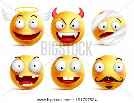Set of vector smileys with funny faces like angel, demon, patient, injured and toothless smiley isolated in white background. Vector illustration.